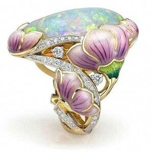 Женское винтажное Золотое эмалированное кольцо с опалом, литье, изысканные кольца с цветком для коктейльной вечеринки, свадебные кольца дл...