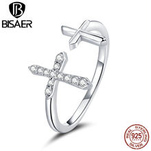 BISAER 100% 925 Sterling Silver Rings Shiny Cross Clear CZ Circle Finger Rings Women Dubai Wedding Bridal Jewelry ECR680(China)