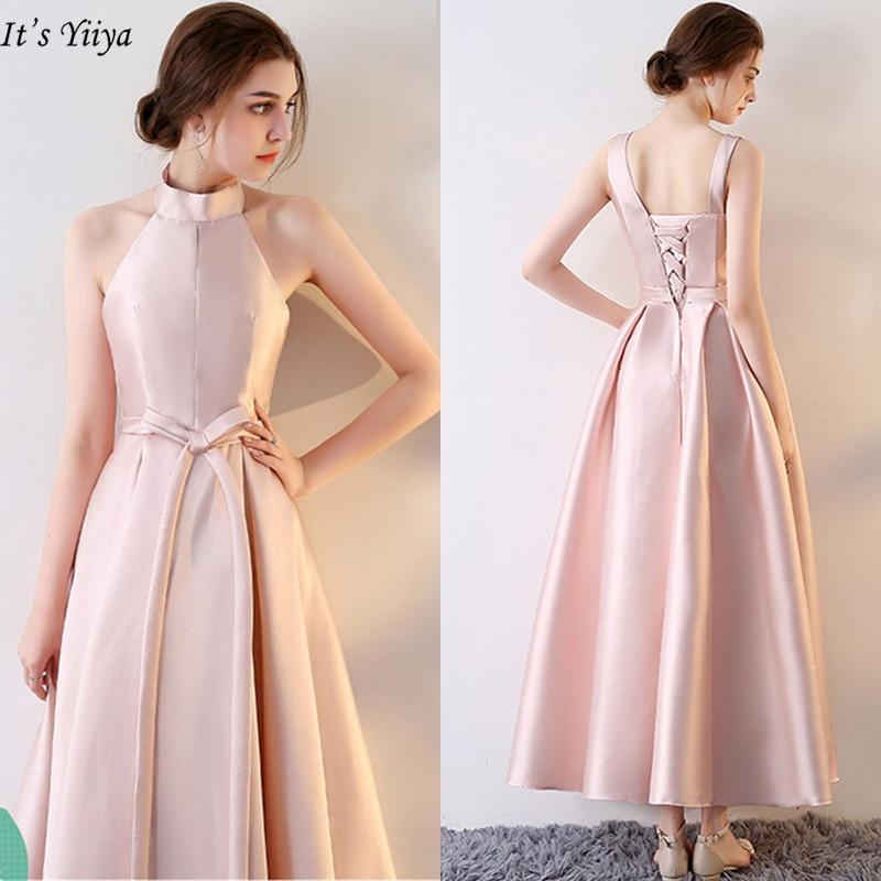 It's YiiYa   Bridesmaid     Dress   2019 Elegant V-Neck Plus Size Sleeveless Ruched A-Line Ankle-Length Robe Demoiselle D Honneur LX715