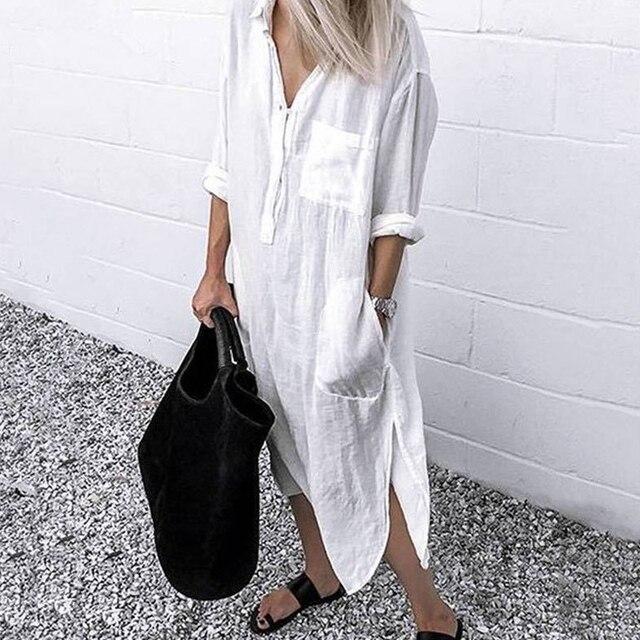 2021 Lady Elegant Long Shirt Dress Fashion Spring/Autumn Long Sleeve Casual Simple Pure Color S-4XL Women Dress 3
