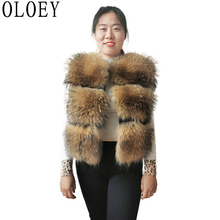 2020 New Real Fur Coat Women's Fashion Natural Raccoon