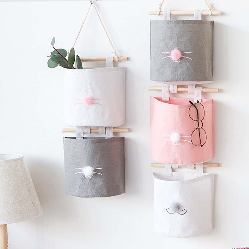 Wall Door Closet Hanging Storage Bag Organizer Wall Mount Pouch Sundries Container Magazine Storage Bags Pockets Home Supplies