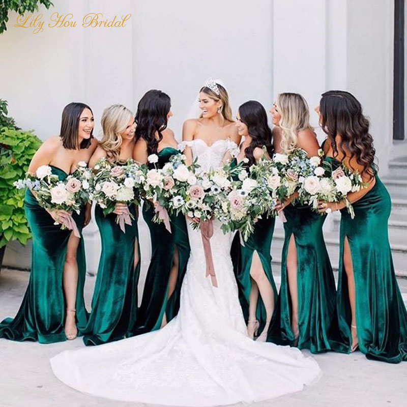 Hunter Green Velvet Bridesmaids Dresses Sweetheart Sleeveless Mermaid Maid of Honor Gowns with Split for Wedding Party