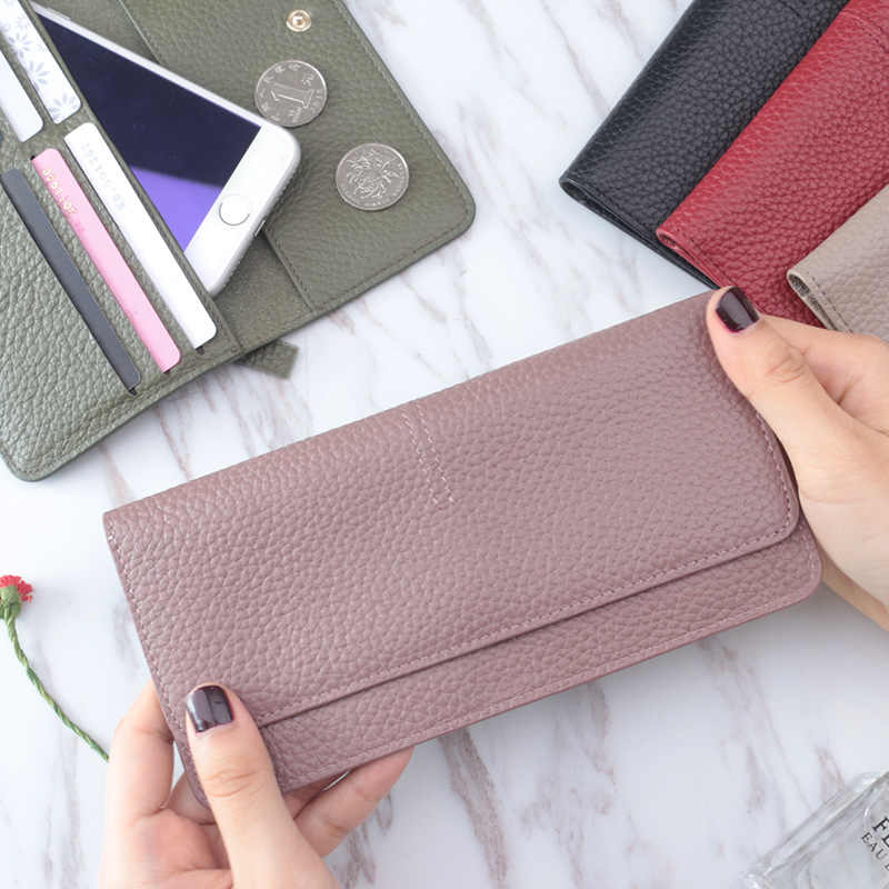 Genuine Leather Women Wallet Fashion Solid Color Coin Purse Multifunctional Cowhide Female Long Women Purses Zipper Card Holder