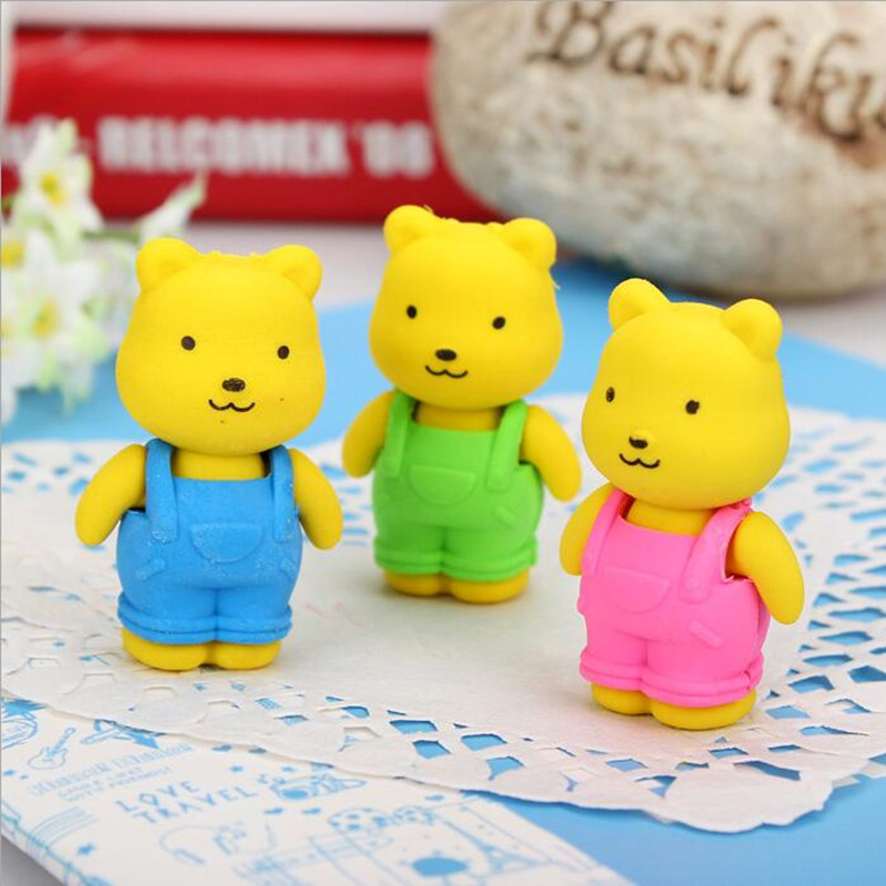 1pcs/pack Novelty Strap Bear Design Eraser Funny Students' Gift Student Stationery Promotion Borracha Escolar School Supplies