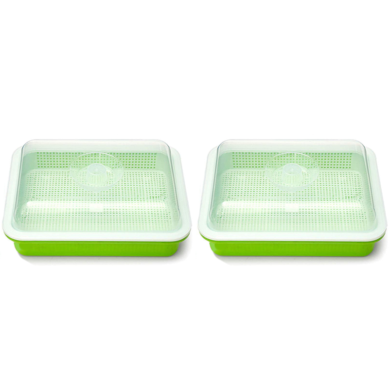 Seed Sprouter Tray PP Healthy Alfalfa Wheatgrass Seeds Grower with Cover,2 Size Small Holes Grid
