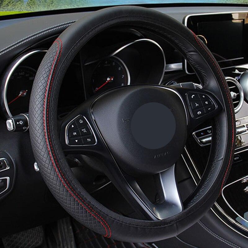 新しい車のステアリングホイールカバー人工皮革弾性スリップ防止機能付き自動ステアリング輪エンボス革車のスタイリング -    グループ上の 自動車