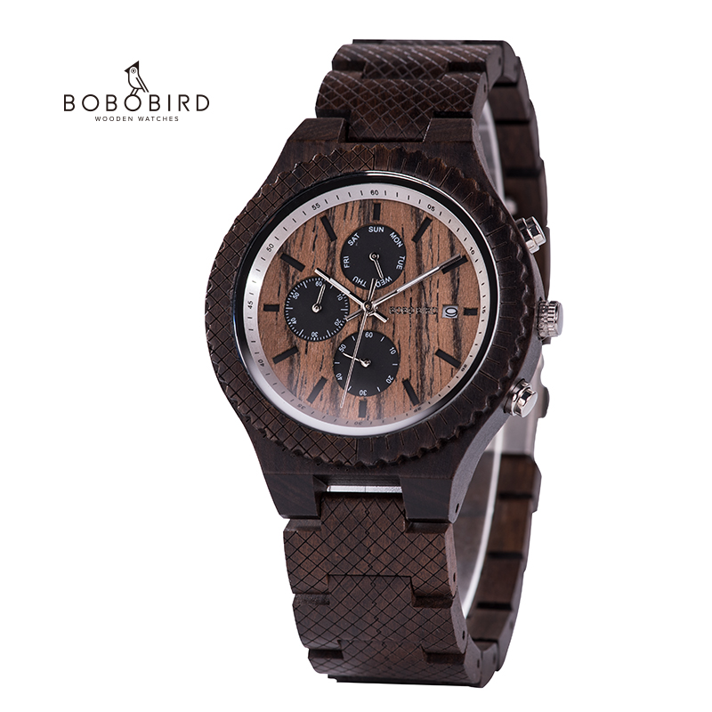 BOBO BIRD Wooden Mens Watches Stylish Wood Combined Chronograph Military Quartz Casual Wristwatches Male ClockRelogio Masculino