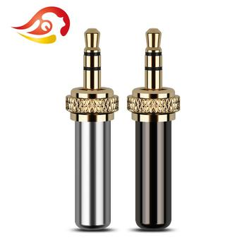 QYFANG 3.5mm 3 Pole Self-Lock Audio Jack Earphone Plug Metal Adapter Bright Case Wire Connector For D11 D16 B03 P03 Headphone image