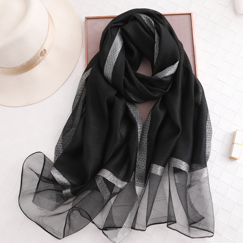 Image 4 - 100% Silk Scarf Womens Fashion Large Sunscreen Shawls Wraps Lightweight Striped Pattern Wool Wraps for WomanWomens Scarves   -