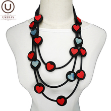 UKEBAY New Heart Sweater Chains Red Blue Heart Pendant Necklaces Handmade Desinger Luxury Necklace Classic Accessories Jewelry classic heart pendant
