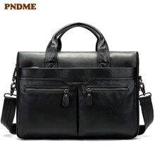 PNDME casual first layer cowhide men's briefcase natural soft cowhide laptop handbag