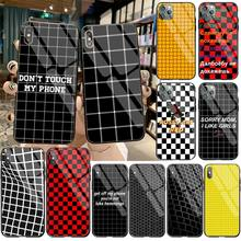 цена Black white Yellow Grid Custom Photo Soft Phone Case Tempered Glass For iPhone 11 Pro XR XS MAX 8 X 7 6S 6 Plus SE 2020 case онлайн в 2017 году