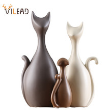VILEAD Ceramic Family of Three Four Cats Figurines Nordic Animal Living Room Decoration Home Ornaments Crafts For Wedding Gifts
