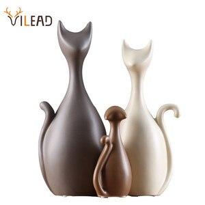 Image 1 - Vileadセラミック家族 3 4 猫の置物北欧動物リビングルーム装飾家の装飾品工芸品結婚式のためのギフト