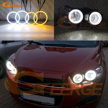 цена на For Chevrolet AVEO Chevrolet Sonic T300 Excellent Ultrabright Dual Color Switchback smd LED Angel Eyes Halo Rings kit
