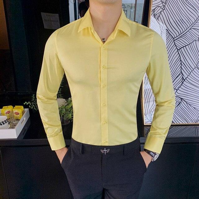 British Style New Solid Shirt Men Long Sleeve Fashion 2021 Autumn Business Formal Wear Men Shirts Slim Fit Casual Blouse Men 4XL 4