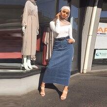 Женская мода 2020, длинная джинсовая юбка с высокой талией, женские повседневные джинсовые юбки карандаш, облегающие Макси юбки, Длинная женская юбка