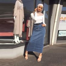 段faldas mujer moda 2020ハイウエストロングデニムスカート女性カジュアルジーンズ鉛筆ボディコンマキシスカートペチコートはlongueファムspodnica