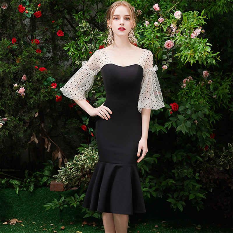 זה YiiYa לנשף שמלת סירת צוואר כבוי כתף חצוצרה בתוספת גודל נשים המפלגה שמלות שכבות באורך הברך Vestidos דה גאלה E835