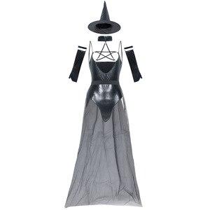 Image 3 - VASHEJIANG пикантные кожаные костюм ведьмы для взрослых Для женщин Хэллоуин сексуальные кружева Волшебный полет ведьмы Косплэй форма смешной костюм