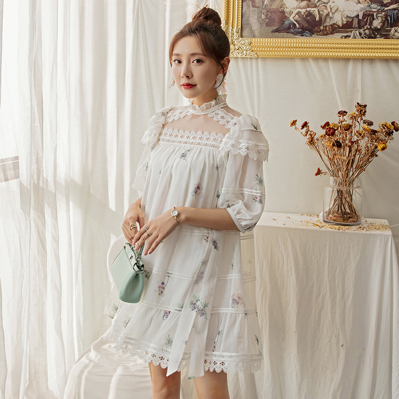 YIGELILA Women Sweet Chiffon Print Dress A-line O-neck Lantern-sleeves Above-knee Mini Cute Dress 64995