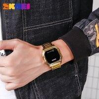 Skmei touch led digital relógios de ouro dos homens data tempo criativo relógios de pulso moda à prova dwaterproof água relógio esporte reloj hombre 6