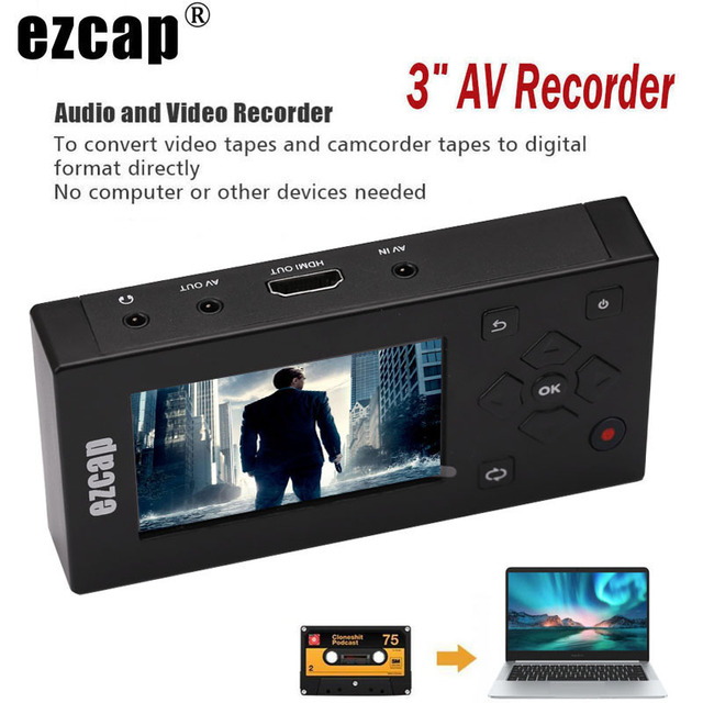 CVBS Convertidor de Caja de captura de Audio y vídeo grabador AV, VHS, VCR, DVD, DVR Hi8, reproductor de juegos, Cassette, videocámara de cinta a MP3, MP4, HDMI, HD TV