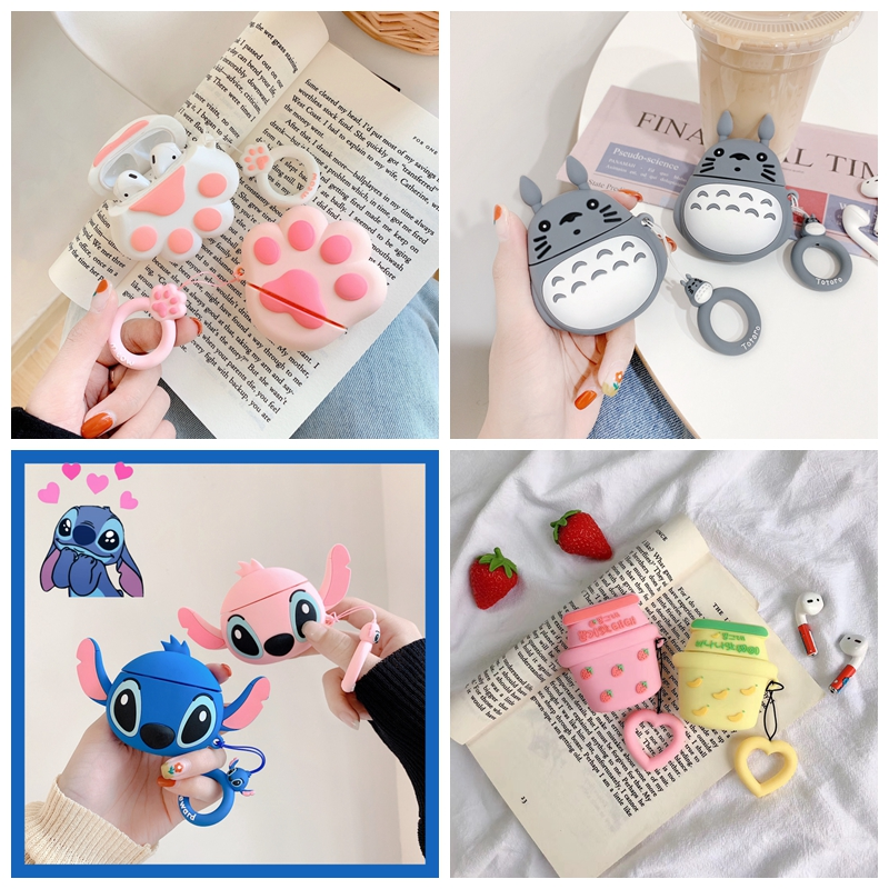 Cute 3D Cartoon Bluetooth Wireless Earphone Case For Apple AirPods Silicone Charging Headphones Case For Air pods Cover