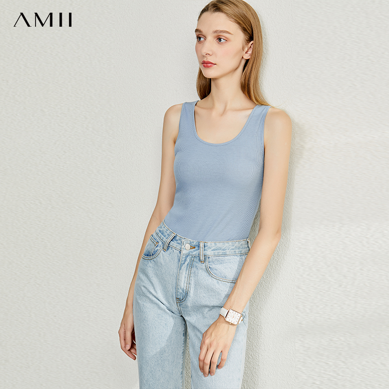AMII Minimalism Spring Summer Cotton Soft Solid Vest Tops Women Causal Oneck Sleeveless Camisole Top Women 12040080