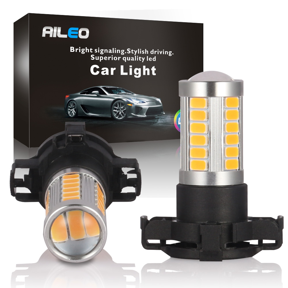 AILEO 2X Xenon White Amber Gold Error Free PY24W 5200s 106-SMD LED for Audi BMW Land Rover <font><b>Mercedes</b></font>-Benz Front Turn Single Light image