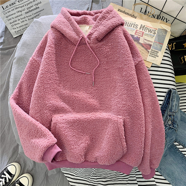 New Autumn Winter Thick Warm Coat Velvet Cashmere Women Hoody Sweatshirt Solid Blue Pullover Casual Tops Lady Loose Long Sleeve 4
