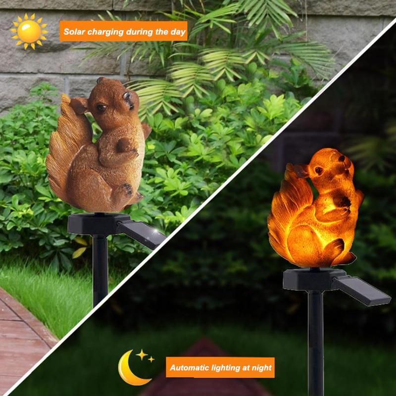 2pc Squirrel Solar Lawn Lamp Garden Xmas Deco Light Waterproof Outdoor  Q