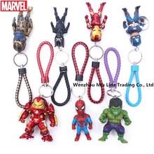 Hasbro Avengers 7pcs/set Iron Man Hulkbuster Black Panther Captain America Spider-Man Thanos Hulk  Leather rope key ring