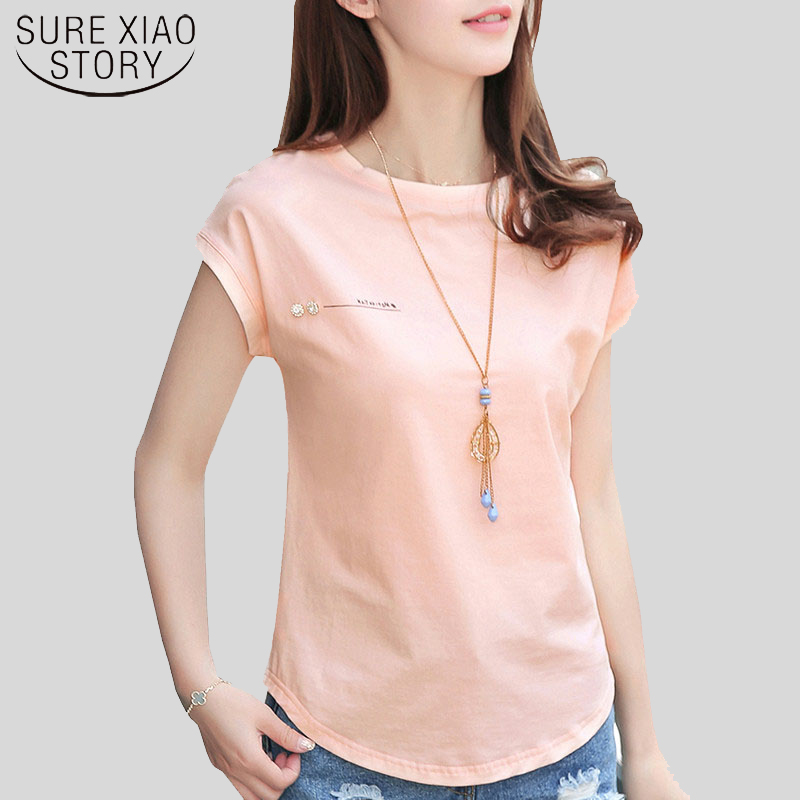 2019 New Summer Fashion Blouses Top Ladies Solid Short Sleeve Pink Camisetas Feminina Plus Size Letter Womens Clothing 2299 50