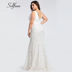 Image 5 - White Lace Dress Women Elegant Mermaid V Neck Sleeveless Long Formal Party Dress Evening Night Wear Plus Size Dress Robe Femme
