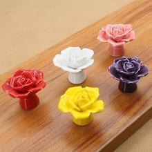 Modern Rose Ceramic Drawer Cabinet Handle Decorative Wardrobe Cartoon European Simple Color Door S.