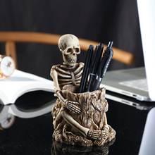 Креативный ретро держатель для ручек с черепом из смолы настольный