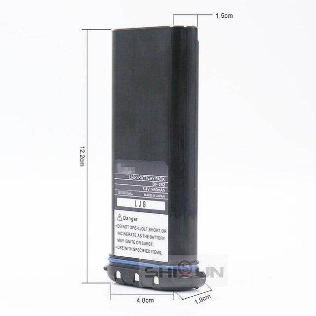 Li-ion 7.4V 980mAh Battery Compatible ICOM BP252 M33 M34 M36 Replace BP241 Radio BP-252 Battery Li-thium Charger BC-173 Optional