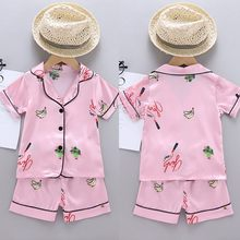 Offre spéciale nouveau beau bébé enfants garçons filles banane impression tenues rose ensemble à manches courtes Blouse hauts + Shorts pyjamas de vêtements de nuit(China)