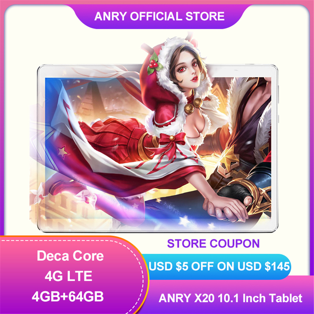 ANRY X20 10.1 Inch Tablet Pc Deca Core RAM 4GB ROM 64GB 1920*1200 IPS 4G Lte Phone Call Tab Dual Wifi GPS BT Android Tablets