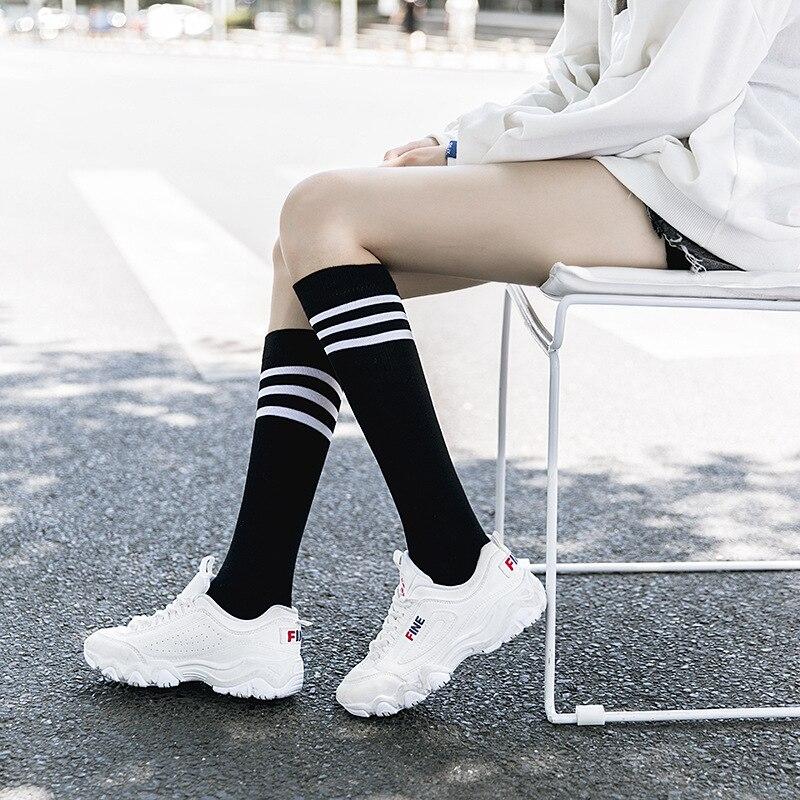 Cotton Ladies Knee High 3 Line Striped Cotton Socks Knee High Women Solid Socks School Party Cheerleader Supplies