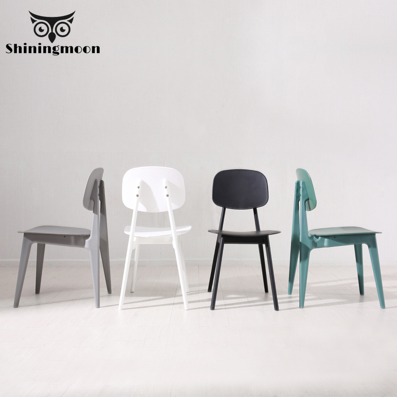 Macaroon Plastic Minimalism Modern Louis Dining Room Chairs White Black Single Chair Restaurant Home Furniture Comfortable Chair