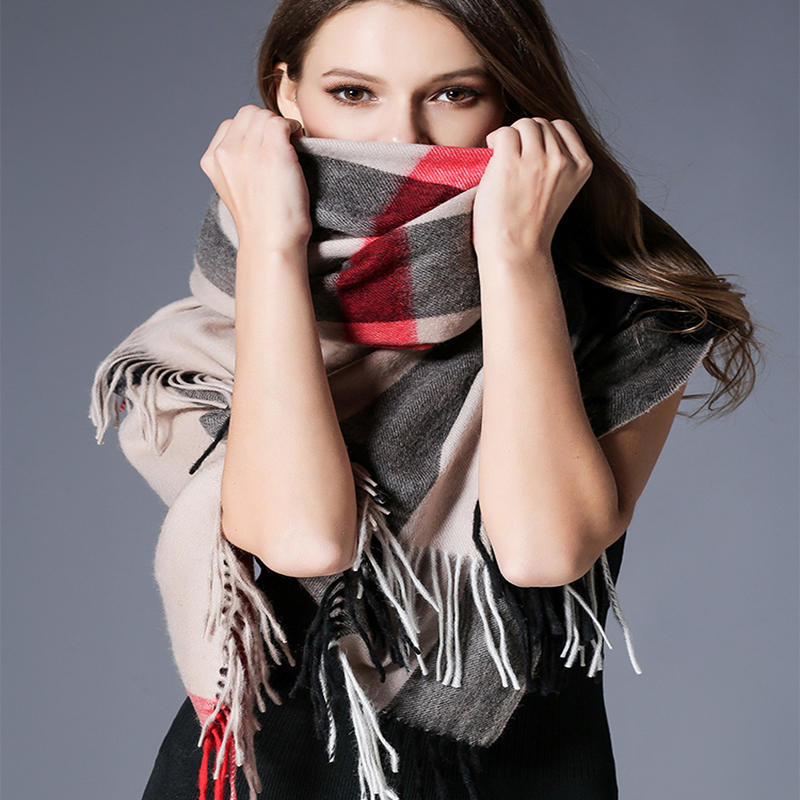 2020 Luxury Brand Plaid Scarves Cashmere Shawls Women Winter Warm Plaid Shawl Cloak Ms Thick Blankets Tassel Scarf Holiday Gifts
