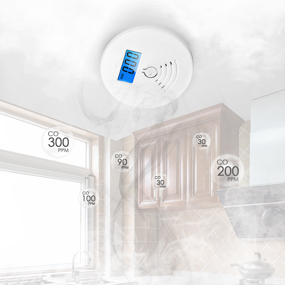 Carbon Monoxide Detector Alarm Portable Co Detector Alarm Sensor With Lcd Display Memory Function Battery Operated For House