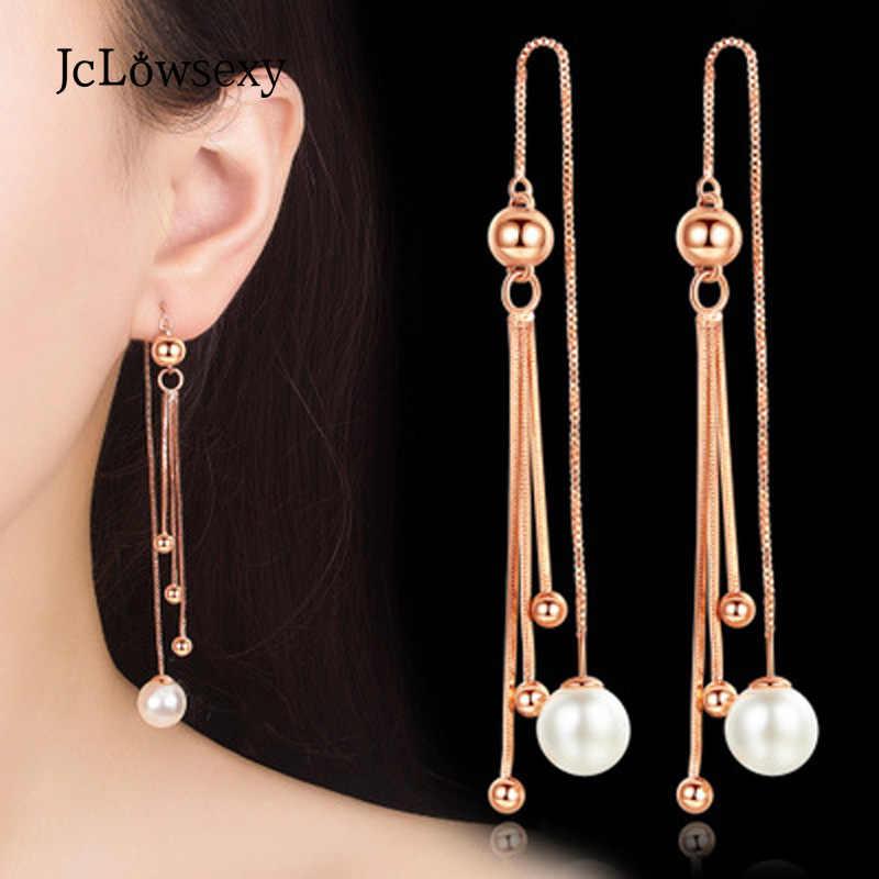 ใหม่แฟชั่น 925 เงินสเตอร์ลิงลูกปัด Rose gold สีขาวกล่องยาวพู่หู Luxury Pearl Drop ต่างหู Oorbellen