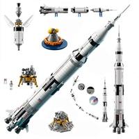 2009PCS Deep Space Rocket Series The Apollo Saturn Building Blocks Space Launch Model Compatible education Toys for children