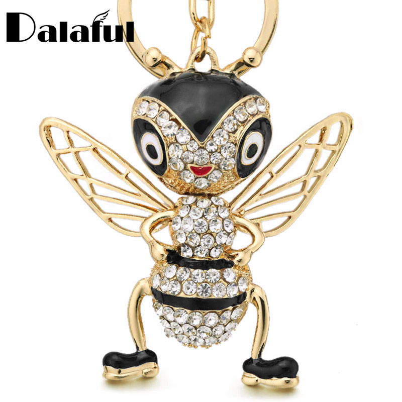Dalaful Crystal Bee Keychains Keyrings Enamel Trinket Creative Insects Key Ring Chain For Women Bag Pendant Jewelry Gift K367
