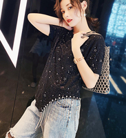Harajuku Korean Clothes Sequined Tassel Summer Women T Shirt Tops New Fashion Tees Chic O Neck Short Sleeve T Shirts Women SL138