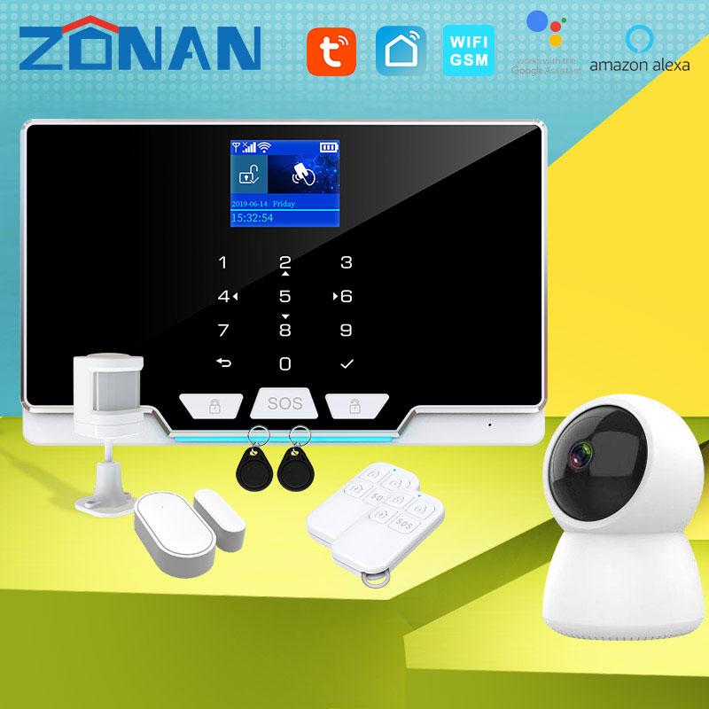Tuya sem fio gsm sistema de segurança alarme com câmera ip nova porta sensor movimento aplicativos controle smartlife wi fi kit alarme segurança